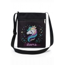 Hot Fashion Unicorn Letter Printed Black Canvas Shoulder Messenger Bag 22.5*27 CM