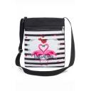 Hot Fashion Unicorn Stripe Letter Heart Painted Black and White Canvas Shoulder Messenger Bag 22.5*27 CM