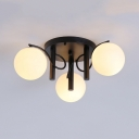 Frosted Glass Globe Ceiling Light 3/5/9 Lights Contemporary Semi Flush Light in Black for Bathroom