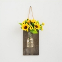 Wood and Clear Glass String Lamp Dining Room Beautiful Fairy Light with Yellow and Red Flower and Bottle