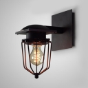 Antique Cage Shape Sconce Single Light Metal Wall Lamp in Black for Dining Room