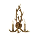 Deer Horn Wall Light Dining Room Living Room 2 Lights Antique Style Sconce in Brass