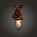 Resin and Glass Deer Decoration Sconce Coffee Shop Single Light Industrial Hanging Wall Sconce