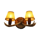 Antique Style Antlers Shape Sconce 2 Lights Resin and Glass Wall Sconce with Tapered Shade for Dining Room Bedroom