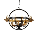 Metal and Resin Candle Chandeliers with Antlers Decoration 6/8 Lights Antique Style Pendant Lamp for Foyer