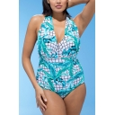 New Trendy Vintage Halter Neck Check Leaf Printed Blue One Piece Swimsuit for Women