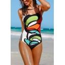 Womens New Stylish Creative Pattern Spaghetti Straps One Piece Swimsuit Swimwear