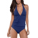 Womens Hot Fashion Simple Plain Halter Plunged Neck Backless One Piece Swimsuit