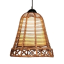 Bamboo Bell Shape Ceiling Light Single Light Rustic Style Hanging Light for Restaurant Foyer