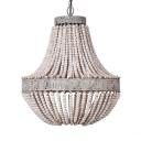 White Chandelier Single Light European Style Metal and Wooden Beads Pendant Lighting for Living Room