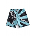 Fashion Skull Soldier Printed Drawstring Waist Men's Blue Summer Beach Swim Shorts