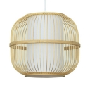 Living Room Hallway Globe Ceiling Light Bamboo Rustic Style Single Light Beige Ceiling Light