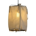 Traditional Style White Pendant Light with Rectangle Shade 1 Light Linen Ceiling Fixture for Bedroom