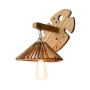 Foyer Hallway Conical Wall Light Rattan Single Light Rustic Style Hanging Wall Sconce
