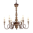 6 Lights Twist Arm Chandelier with Candle Shape Antique Style Wood Pendant Light for Dining Room Coffee Shop