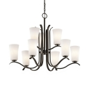 European Style Tapered Pendant Lighting 9 Lights Frosted Glass and Metal Suspension in Black/Nickel