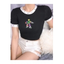 Fashion Cartoon Emoji Robot Print Eyelet Round Neck Slim Black Cropped T-Shirt
