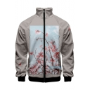 New Trendy Floral Pattern Stand Collar Long Sleeve Zip Up Grey Jacket