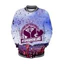 Tomorrowland Cool Pattern Rib Stand Collar Long Sleeve Button Front Unisex Baseball Jacket