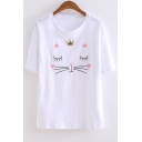 Lovely Cartoon Cat Embroidery Short Sleeve Relaxed T-Shirt