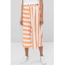 Womens Orange Stripe Printed Elastic Waist Cropped Wide-Leg Culottes Pants