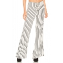 Trendy Lace-Up Tied Front White Vertical Stripe Printed Wide Leg Pants for Women