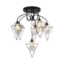 Industrial Wire Cage Semi Flush Ceiling Light 4/6 Lights Metal and Glass Ceiling Light in Black