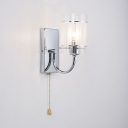 Cylinder Wall Light 1/2 Lights Rustic Style Metal and Clear Glass Sconce Wall Light for Dining Room Bedroom