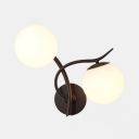 Frosted Glass and Metal Wall Lamp Hallway Living Room 2 Lights Industrial Globe Wall Sconce