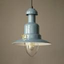 Industrial Style Pendant Light Single Light Metal Yellow/Light Blue/Sky Blue Hanging Light for Kitchen Hallway