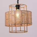 Single Light Drum Shape Hanging Lamp Vintage Style Rope Ceiling Pendant in Beige for Living Room