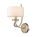 Antique Style White Wall Lamp with Drum Shade 1 Light Metal and Fabric Sconce Light for Hotel