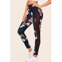 Womens Chic Floral Printed Sexy Sheer Mesh Panel Side Navy Skinny Fit Leggings