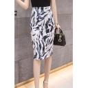 Summer Fashion White Pattern High Waist Womens Midi Pencil Skirt
