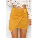 Basic Solid Color Womens New Trendy Suede Mini Bodycon Asymmetrical Skirt