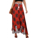 Summer Holiday Bohemian Style Tribal Printed Drawstring Waist Maxi Red Skirt