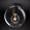Simple Style Globe Flush Mount Light 1 Light Clear Glass Ceiling Light in Brass/Chrome/Black for Kitchen Hallway