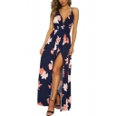 Summer Navy Floral Printed Sexy V-Neck Open Back Split Side Maxi Holiday Beach Slip Dress