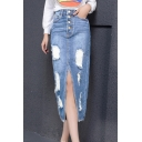 New Trendy High Waist Distressed Ripped Button-Fly Split Front Long Pencil Denim Skirt