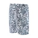 Summer Trendy Grey Tropical Coconut Palm Printed Beach Swim Shorts for Guys