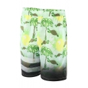 New Fashion Cute Cartoon Turtle Print Men's Cyan Beach Swimwear Swim Trunks with Lining