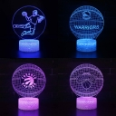 7 Color Changing LED Night Lamp Bedroom Kitchen Basketball Pattern 3D Illusion Light with Touch Sensor