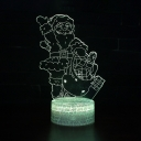 Santa Claus Pattern LED Night Light 7 Color Changing Touch Sensor 3D Bedside Lamp for Christmas Gift
