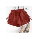 Womens Summer Solid Color Elastic Waist Lace-Up Side Loose Fit Shorts