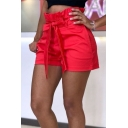 Womens Hot Popular Simple Plain Bow-Tied Waist High Rise Casual Paperbag Shorts