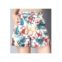 Summer Chic Tropical Floral Printed Tied Waist High Rise Casual Shorts for Women