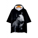 Bull Terrier 3D Dog Printed Short Sleeve Unisex Hooded Casual Black T-Shirt