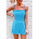 Summer Basic Solid Color Spaghetti Straps Bow-Tied Back Playsuits Rompers for Women