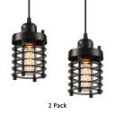 Metal Hollow Cylinder Hanging Light 2 Pack 1 Light Vintage Style Pendant Lamp in Black for Kitchen Dining Room