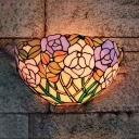 Flower Pattern Sconce Wall Light Tiffany Style Glass Wall Lamp with Multi Color for Hallway Stair